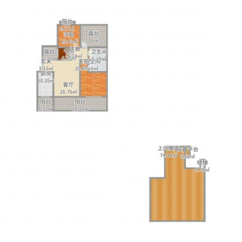 广厦城 广厦城・洛卡庄园3室1厅1卫1厨328.00㎡户型图