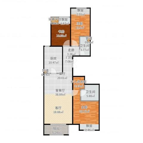 龙湖・长楹天街3室2厅2卫1厨138.00㎡户型图