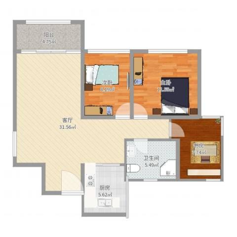 朗晴居3室1厅1卫1厨94.00㎡户型图