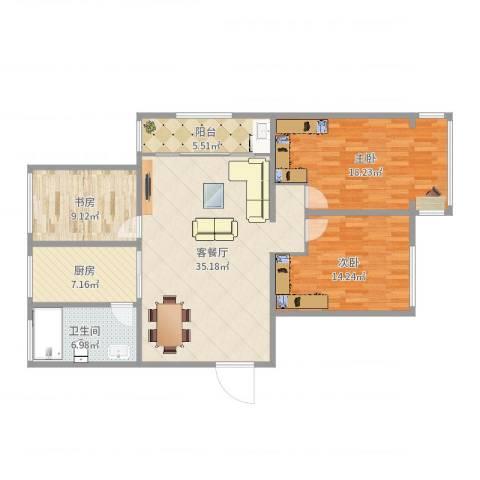 丰涵家园3室2厅1卫1厨121.00㎡户型图