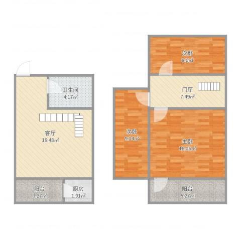 青年居易3室1厅1卫1厨94.00㎡户型图