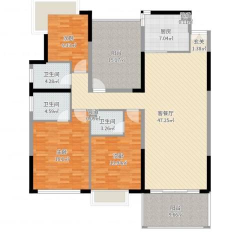 松湖花园3室2厅3卫1厨166.00㎡户型图