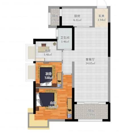 益阳碧桂园3室2厅1卫1厨102.00㎡户型图
