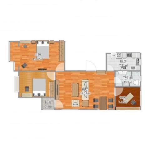弘基书香园三期2室1厅1卫1厨102.00㎡户型图