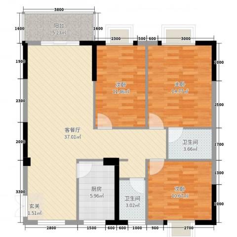 翰林轩3室2厅2卫1厨123.00㎡户型图