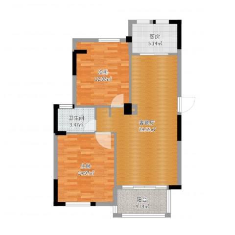 正方・上林苑2室2厅1卫1厨89.00㎡户型图