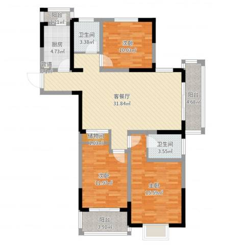 万福・君临天下3室2厅2卫1厨115.00㎡户型图
