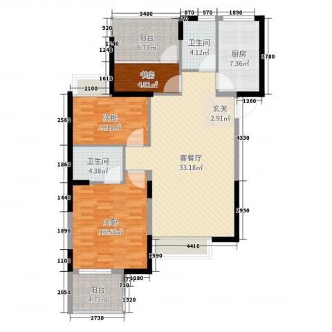 明发摩尔城3室2厅2卫1厨114.00㎡户型图