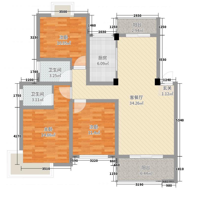 天一尊邸115.90㎡户型3室3厅2卫1厨