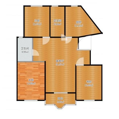 虹口玫瑰苑3室2厅2卫1厨122.00㎡户型图