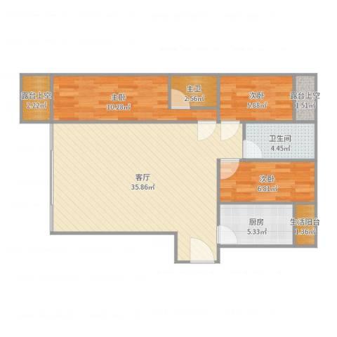 金地上塘道花园3室1厅1卫1厨95.00㎡户型图