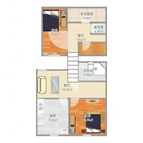 青年居易3-1-6022室4厅1卫1厨76.00㎡户型图