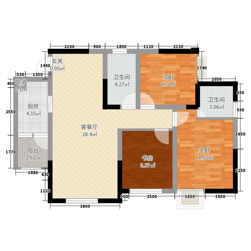 驿都城91.00㎡13栋E3型标准层户型3室3厅2卫1厨