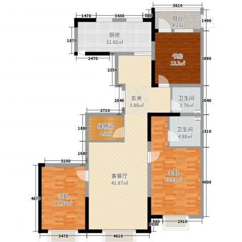 金地花园3室2厅2卫1厨146.00㎡户型图