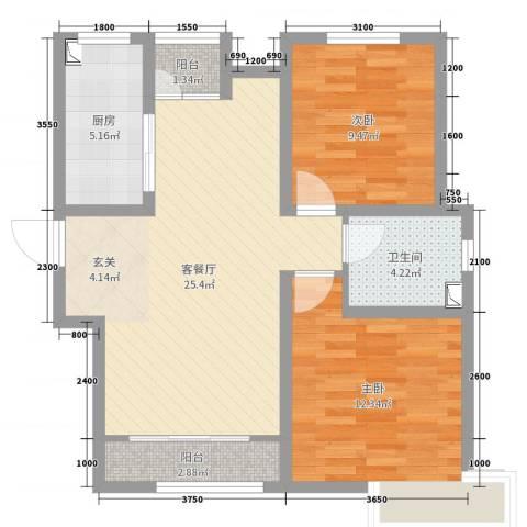 卓达太阳城2室2厅1卫1厨82.00㎡户型图