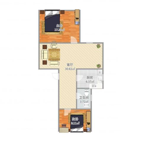 佳虹小区2室1厅1卫1厨84.00㎡户型图