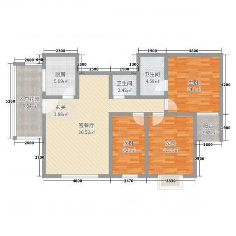 中力广场3室2厅2卫1厨113.00㎡户型图