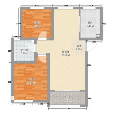 卓达太阳城2室2厅1卫1厨84.00㎡户型图