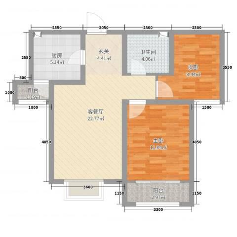 卓达太阳城2室2厅1卫1厨87.00㎡户型图