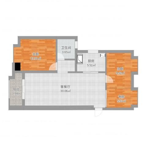 景瑞望府3室2厅1卫1厨90.00㎡户型图