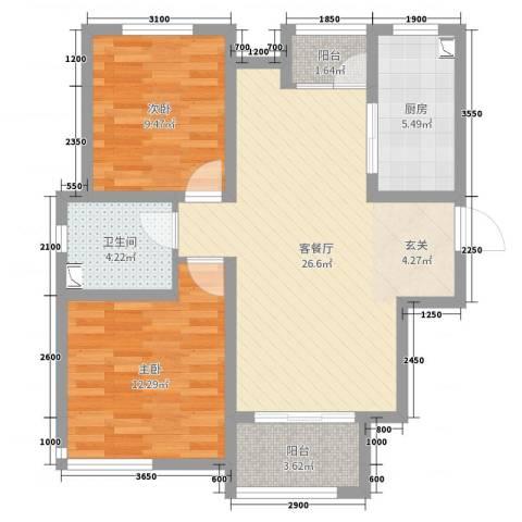 卓达太阳城2室2厅1卫1厨88.00㎡户型图