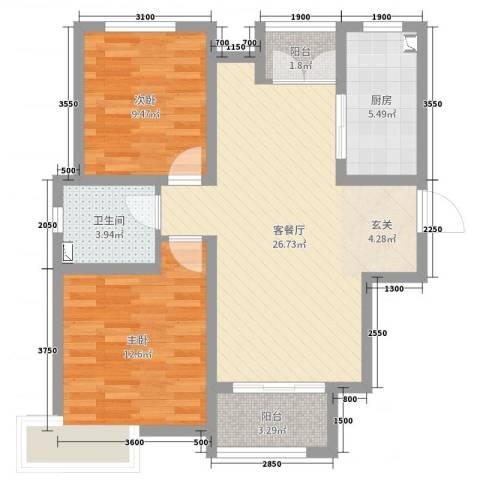 卓达太阳城2室2厅1卫1厨97.00㎡户型图