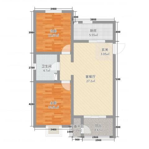 卓达太阳城2室2厅1卫1厨98.00㎡户型图
