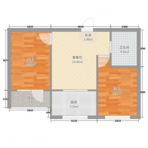 金海明珠2室2厅1卫1厨58.00㎡户型图