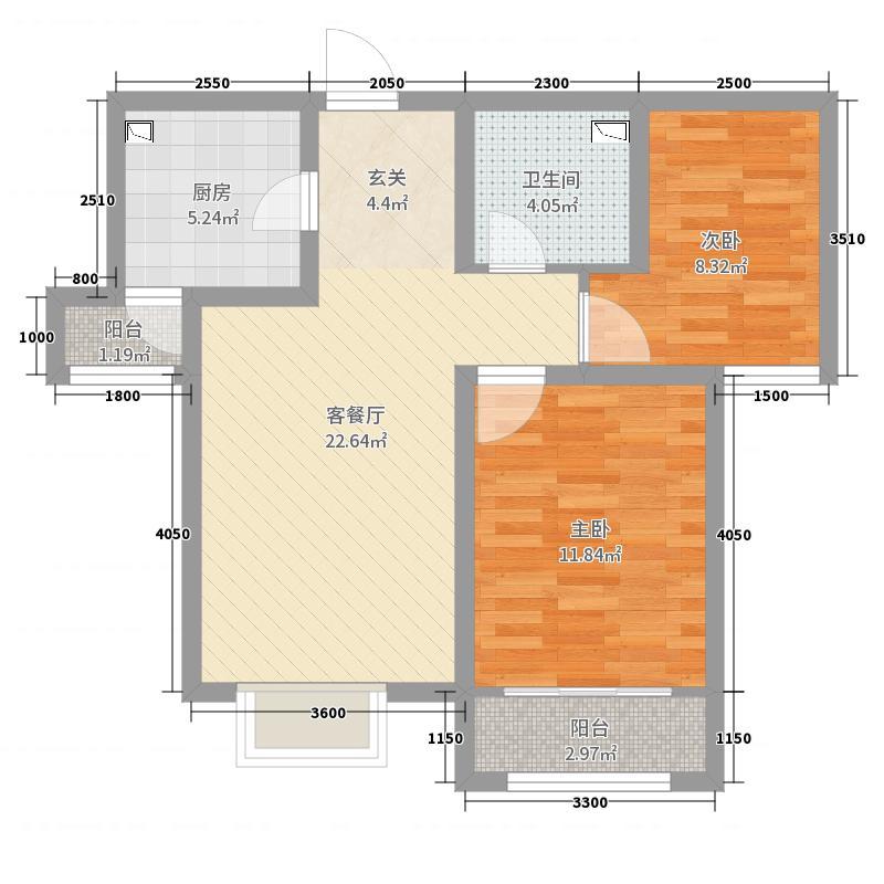 卓达太阳城104.24㎡3期30号楼30-1-02户型2室2厅1卫1厨
