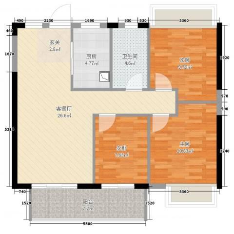 金辉城3室2厅1卫1厨89.00㎡户型图