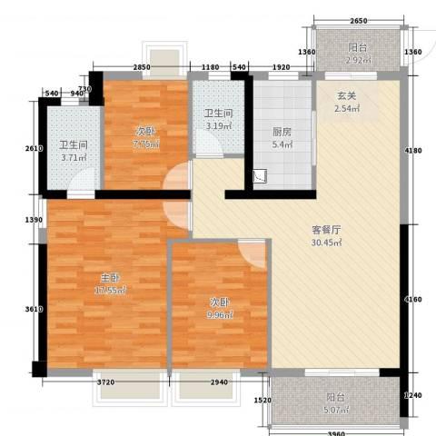 金辉城3室2厅2卫1厨108.00㎡户型图