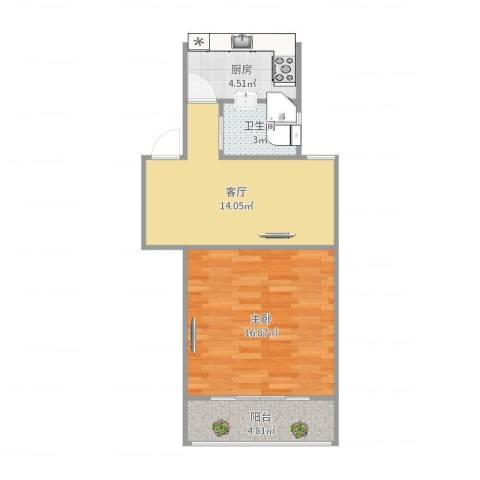 紫叶小区1室1厅1卫1厨54.00㎡户型图