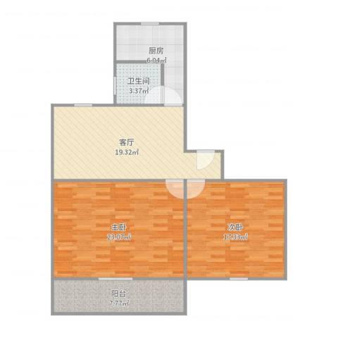 紫叶小区2室1厅1卫1厨96.00㎡户型图