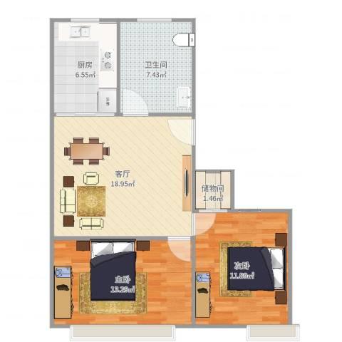紫叶小区2室1厅1卫1厨74.00㎡户型图
