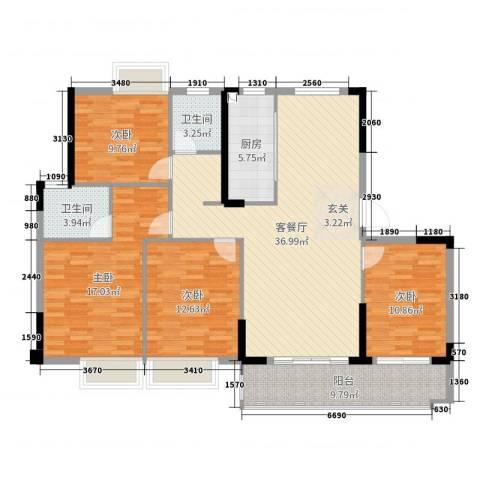 金辉城4室2厅2卫1厨137.00㎡户型图