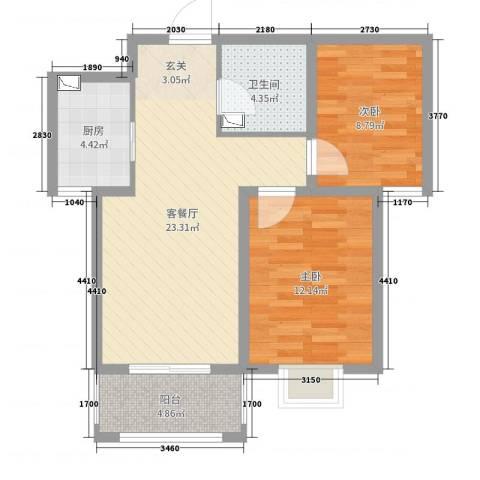 坤泽-翰林华府2室2厅1卫1厨72.00㎡户型图