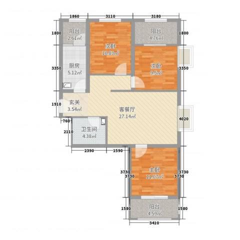 坤泽-翰林华府3室2厅1卫1厨99.00㎡户型图