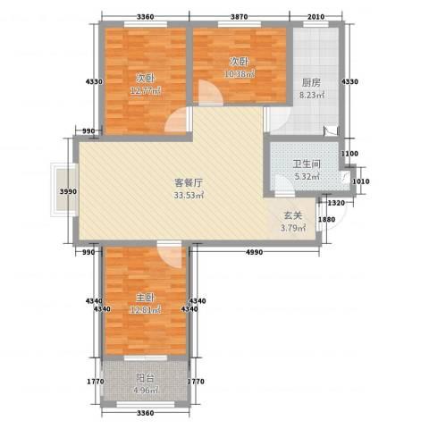 坤泽-翰林华府3室2厅1卫1厨110.00㎡户型图
