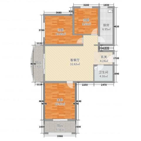 坤泽-翰林华府3室2厅1卫1厨117.00㎡户型图