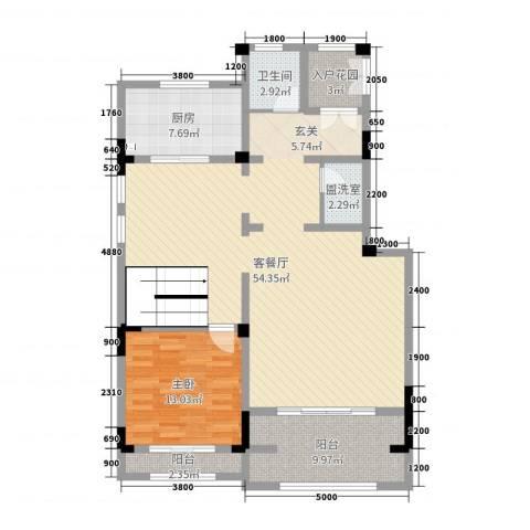 塞纳蓝湾1室2厅1卫1厨200.00㎡户型图