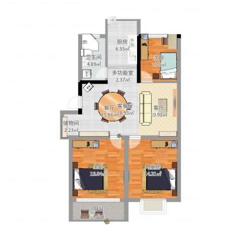 紫薇花园3室2厅1卫1厨102.00㎡户型图