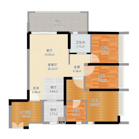 钢琴家 珠海3室2厅1卫1厨108.00㎡户型图
