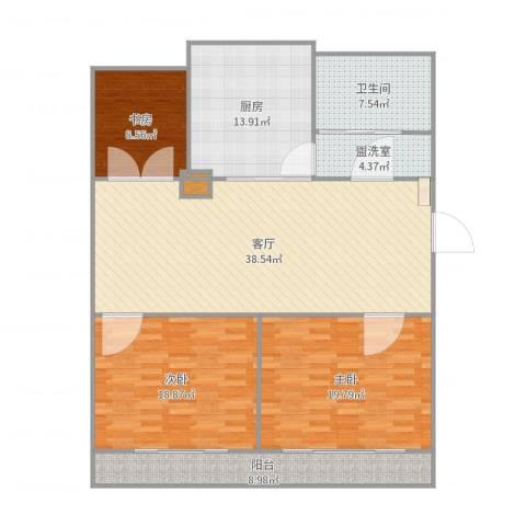 华侨花苑3室3厅1卫1厨151.00㎡户型图