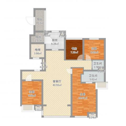 万科大明宫4室3厅8卫1厨143.00㎡户型图