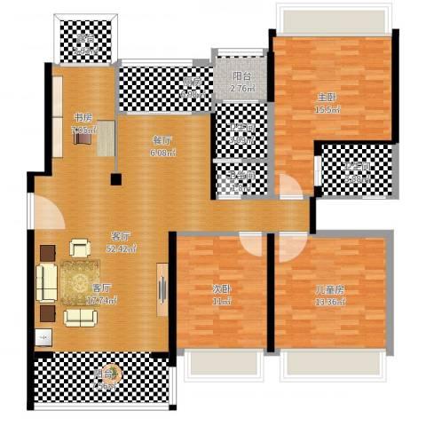 维多利亚公寓8栋4单元3室1厅3卫1厨138.00㎡户型图