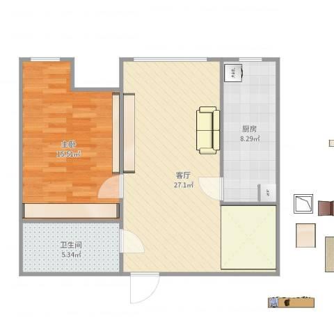 保利金泉1室1厅1卫1厨56.23㎡户型图