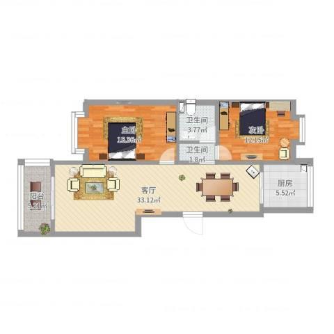 格瑞雅居2室1厅2卫1厨96.00㎡户型图