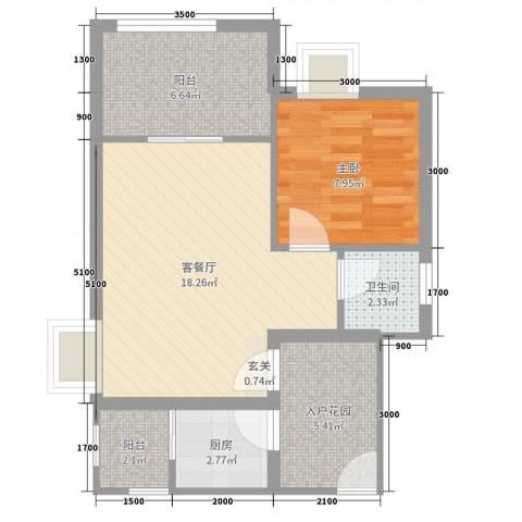 天源海景1室2厅1卫1厨55.00㎡户型图