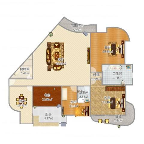 佳苑星河3室2厅2卫1厨234.00㎡户型图