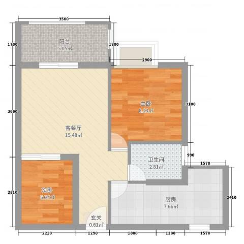 天源海景2室2厅1卫1厨55.00㎡户型图